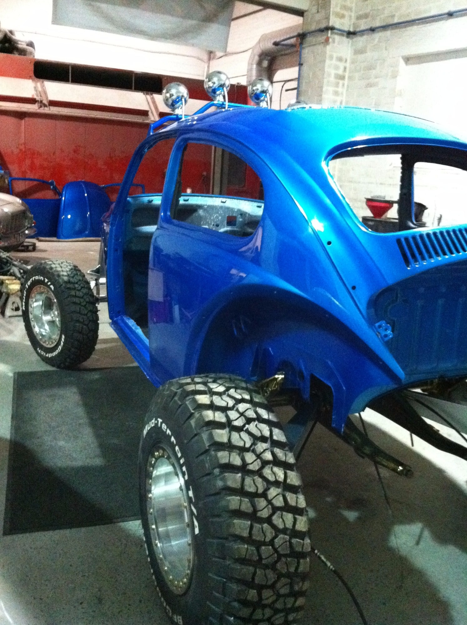 Baja Beetle blue in progress - wheels added