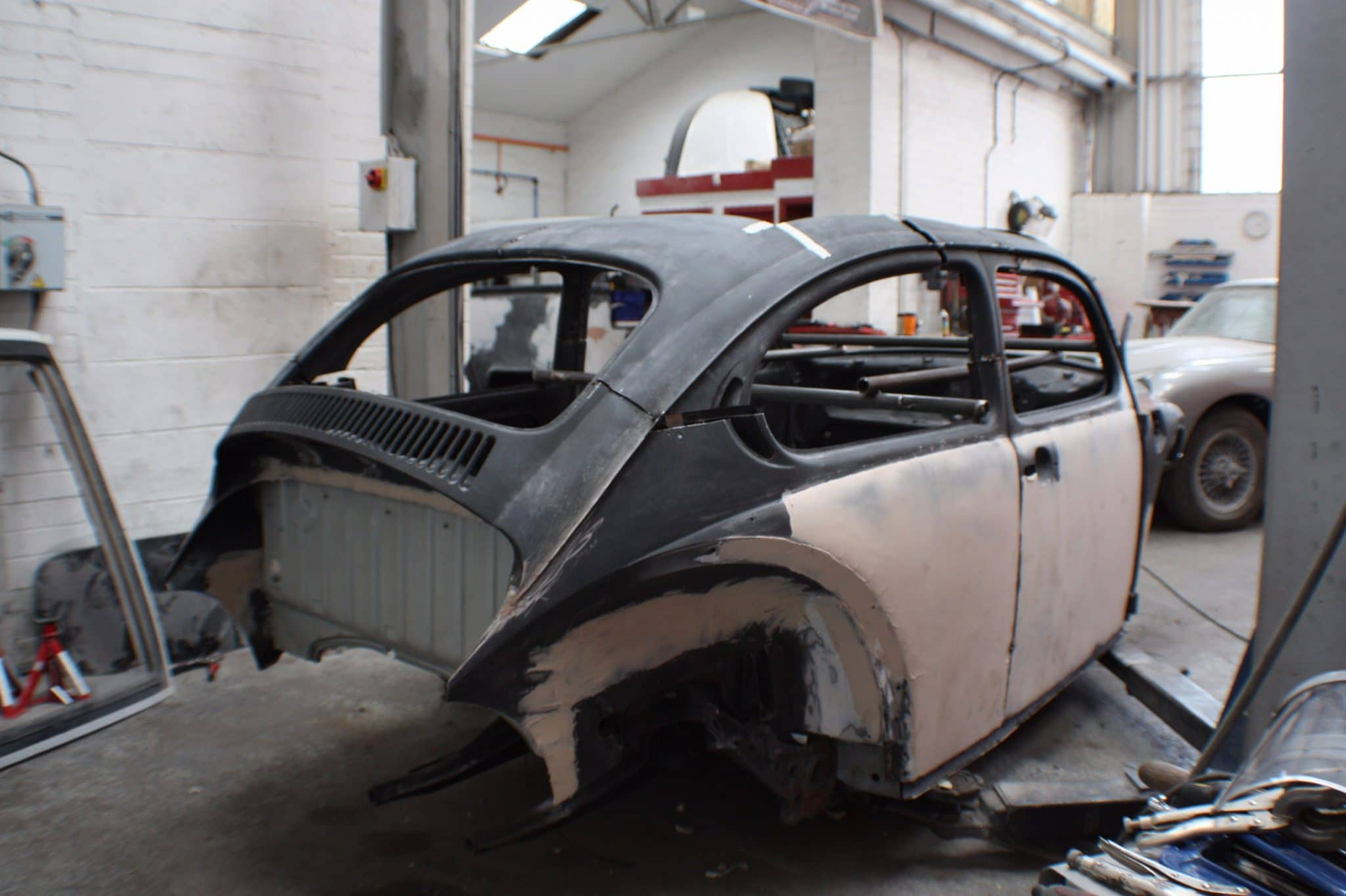 Beetle shell stripped back - sanded metal - black and cream