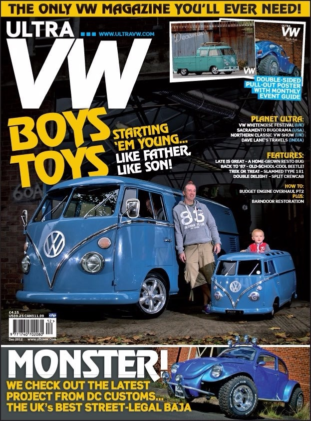 VW magazine - blue camper van front cover