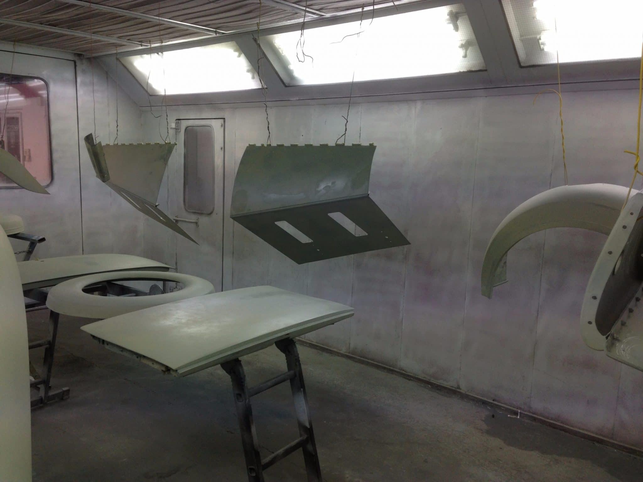 workshop of sprayed car parts