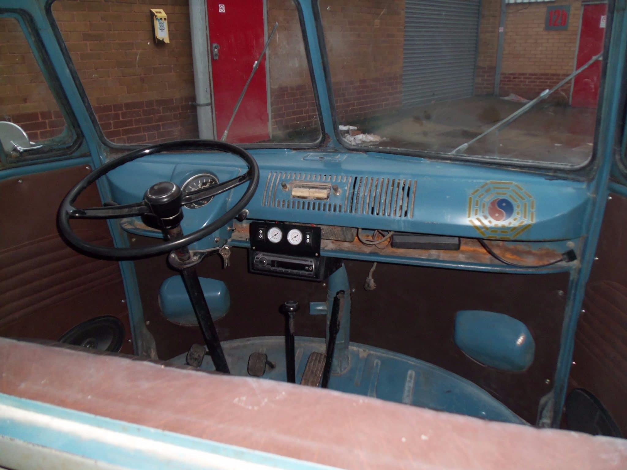VW camper van steering wheel before restoration