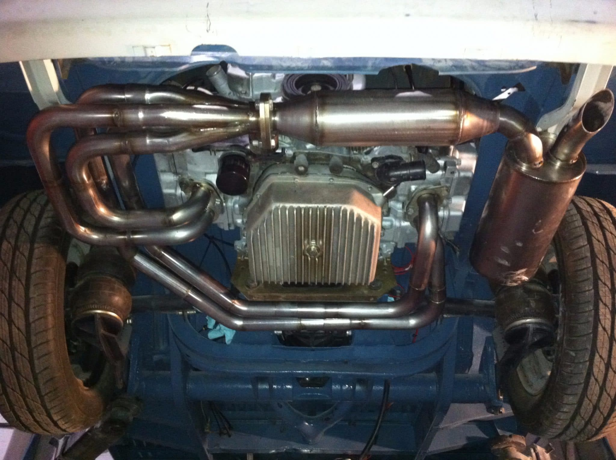 close up of under view of car - exhaust restoration