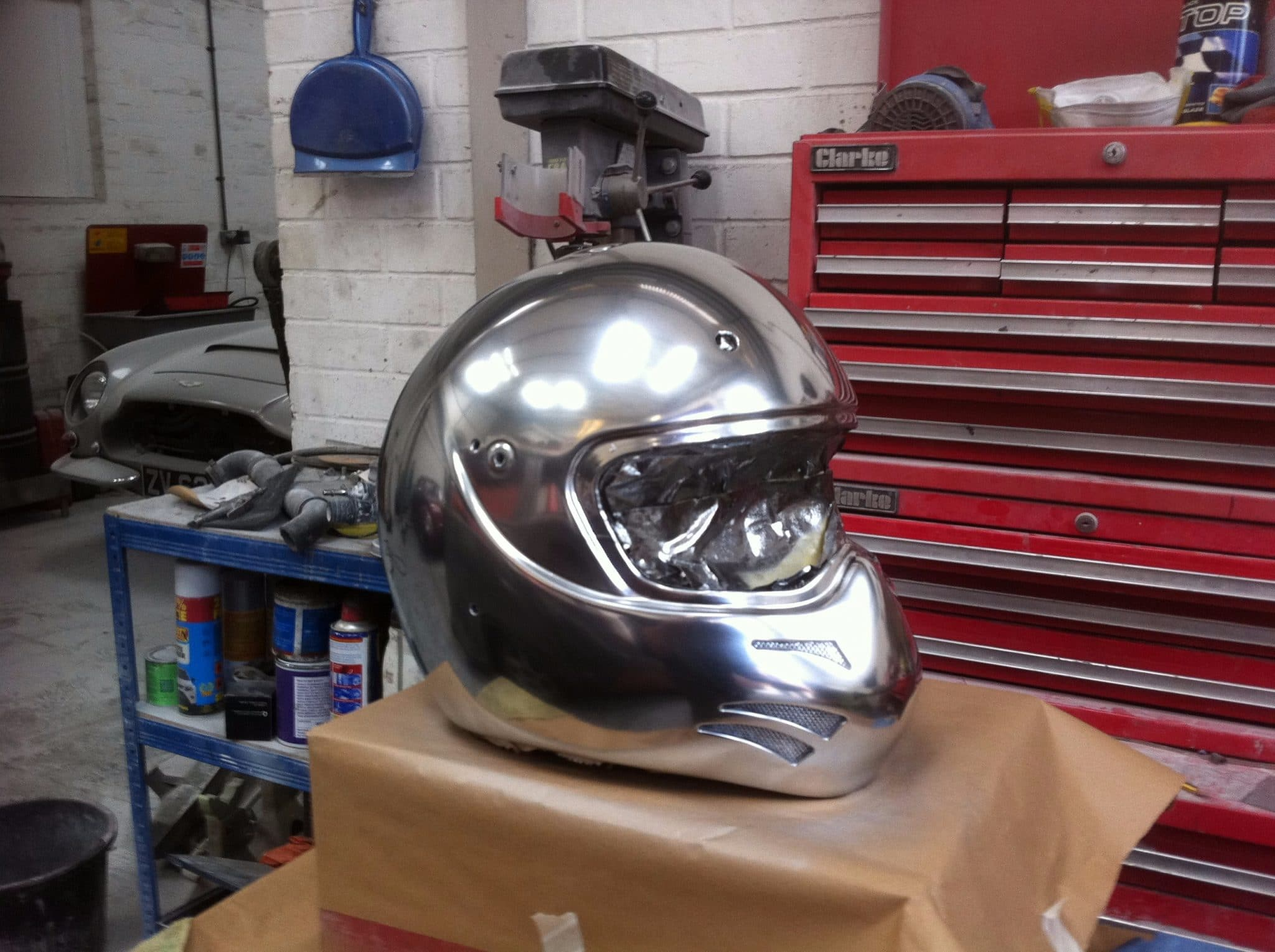 silver, chrome helmet