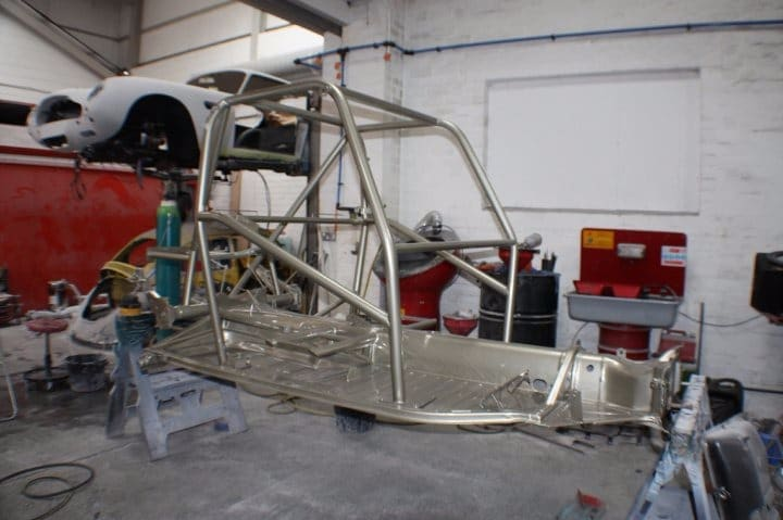 Beetle shell frame in garage