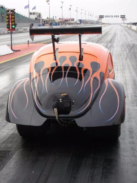 back end finished pps orange and black Beetle on track