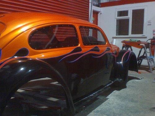 custom Beetle - orange and black