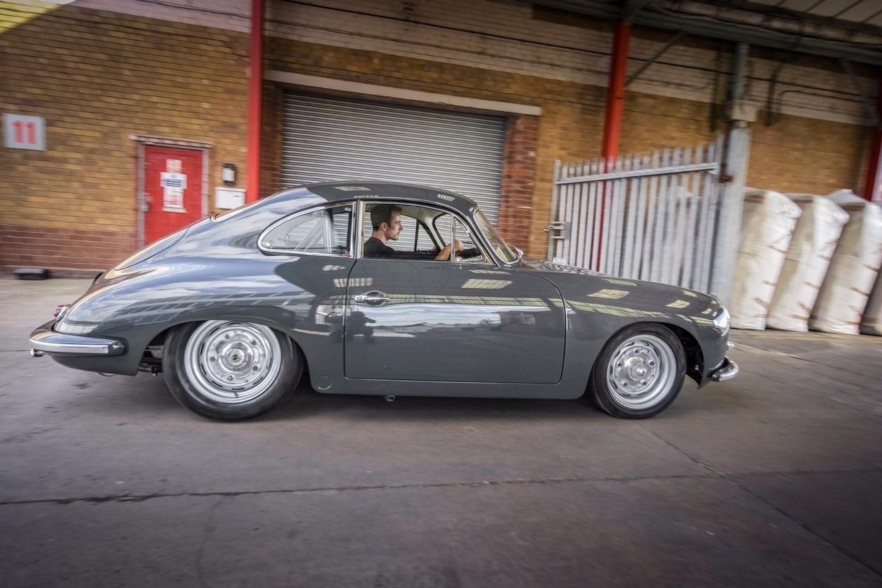 Grey Porsche side view
