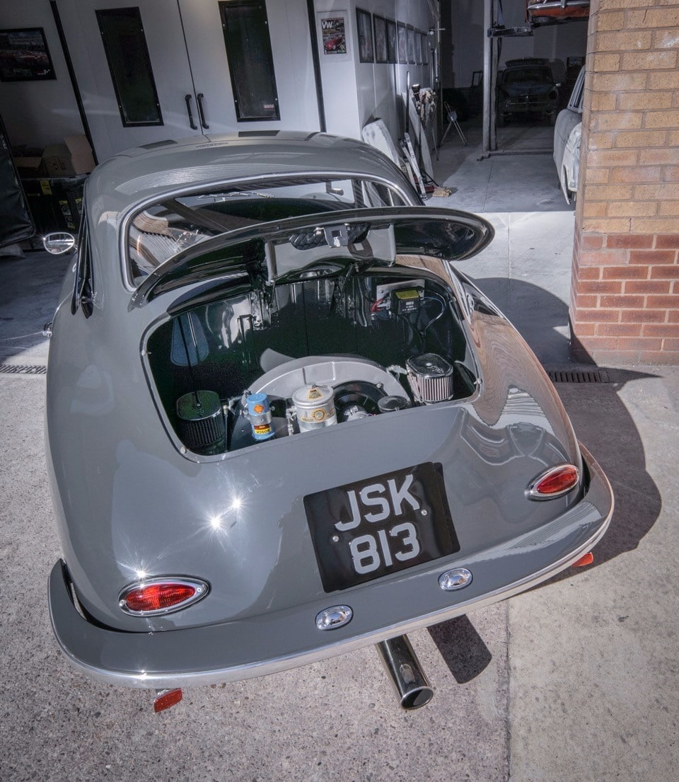 back of Porsche open - grey restoration