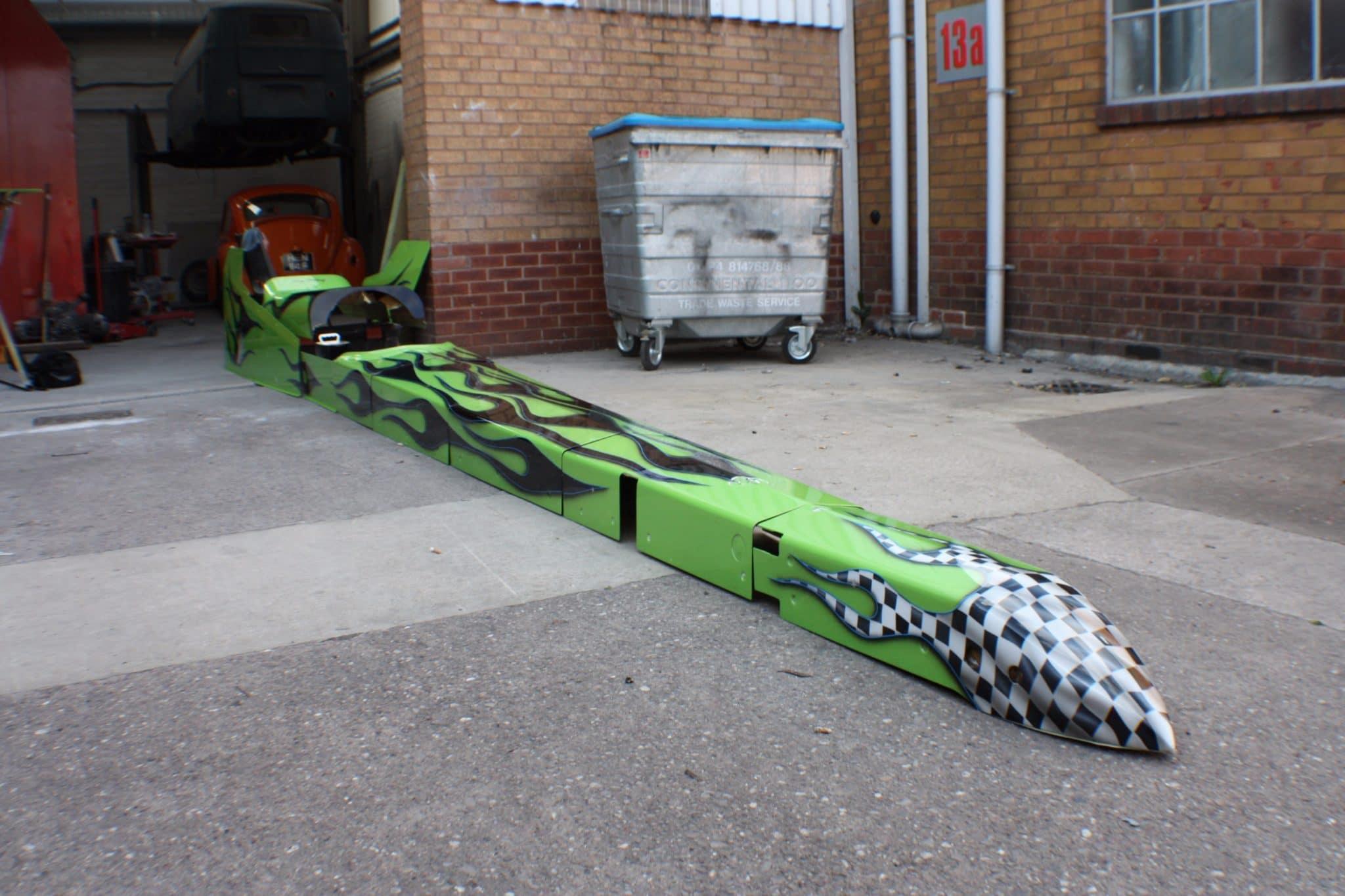 dragster on garage floor - in progress