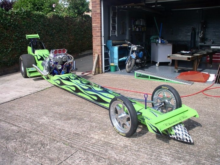 complete dragster in garage