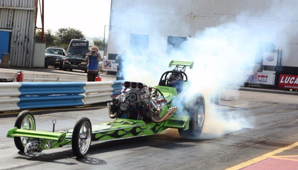 dragster in action - race track