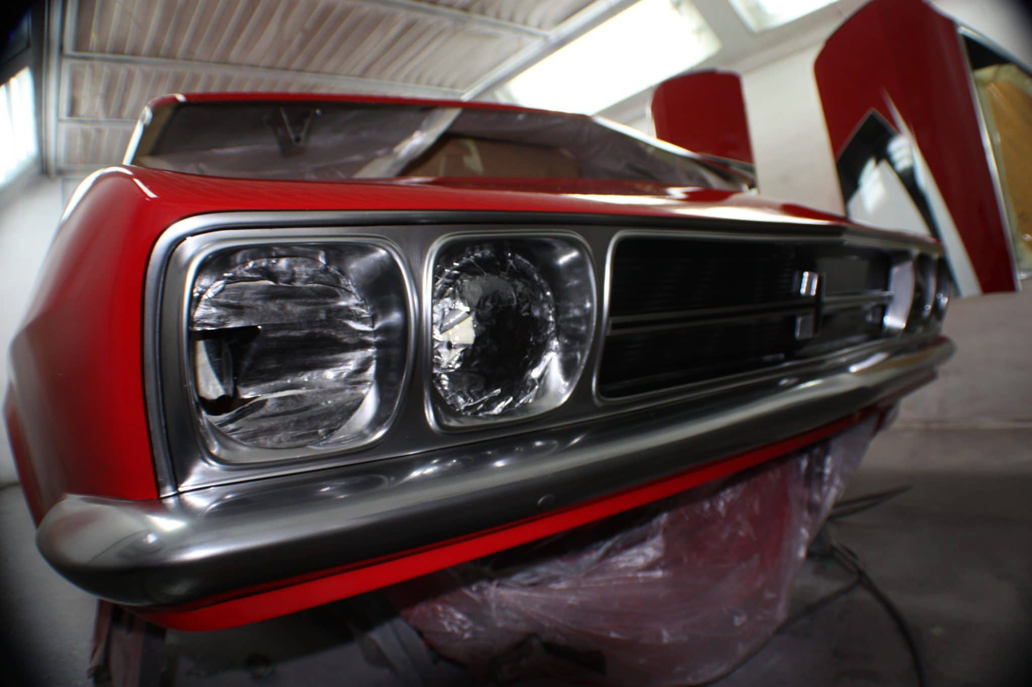 close up of headlights - front end red victor 3