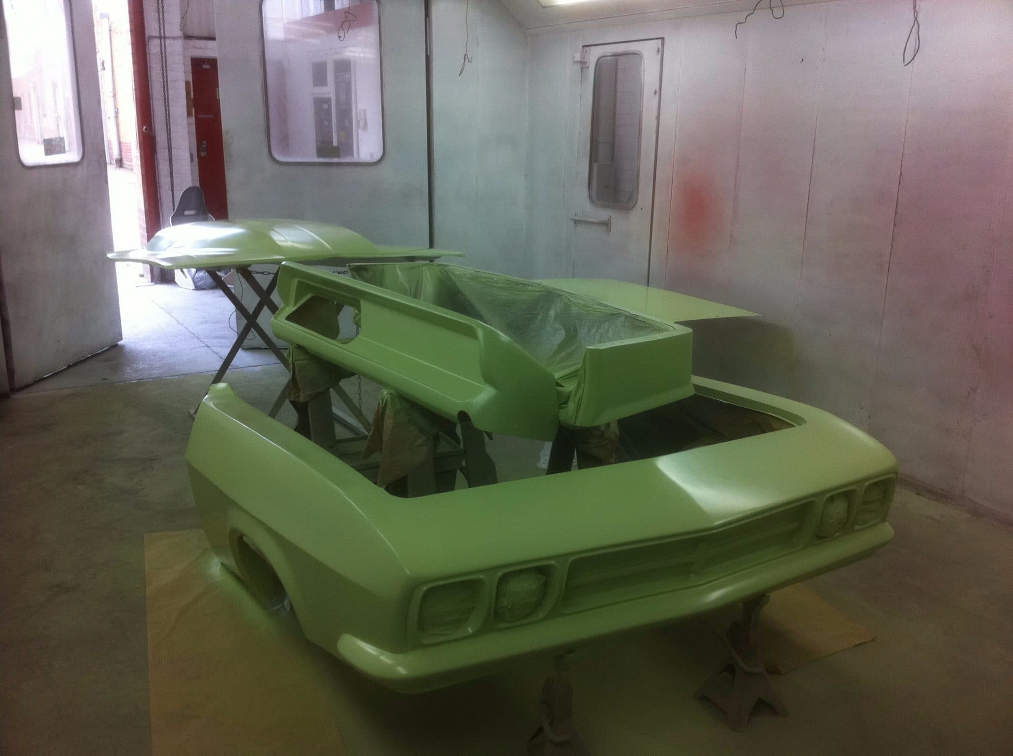 green sprayed bumper
