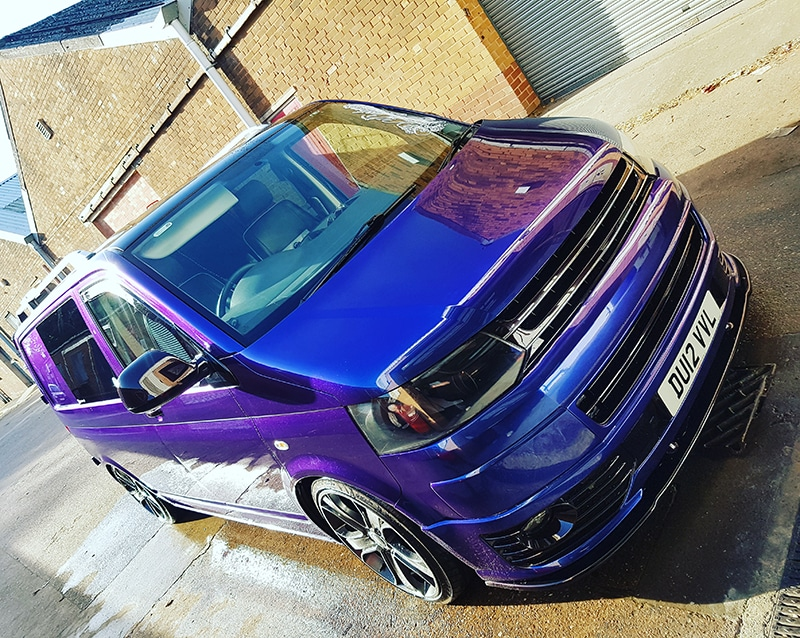 purple and blue ceramic coating